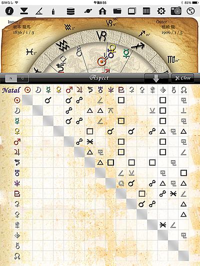 ホロスコープ 時空 ホロスコープ時空 iPhone iPad アプリ 作成 無料 入力 占星術 Aspect アスペクト 拡大