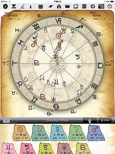 ホロスコープ 時空 ホロスコープ時空 iPhone iPad アプリ 作成 無料 入力 占星術 感受点 Sensitive Point