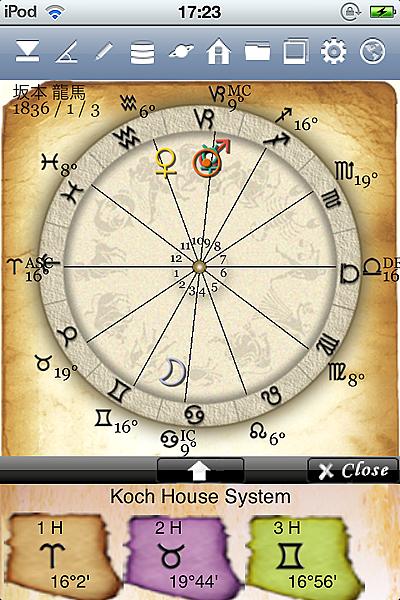 ホロスコープ時空 占星術 アプリ ホロスコープ iPhone 2惑星 ハウス