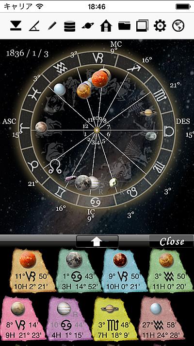 ホロスコープ時空 horoscopeJIKU for iPhone 星占い 占い 無料 西洋 占星術 ホロスコープ 時空 horoscope JIKU