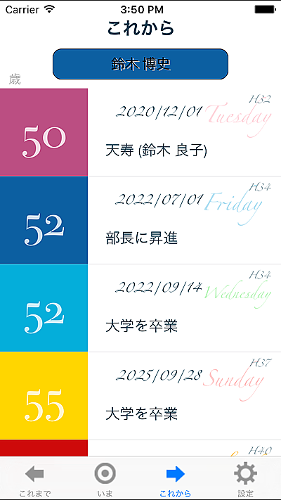 iPhone,アプリ,timetable,calender,diary,時間割,人生,出来事,子供,将来,岐路,年月,年齢,思い出,日記,日誌,時計,歳月,生き方,生活,目標,節目,記録,過去,日記,日誌,ダイアリー,ライフ,カレンダー